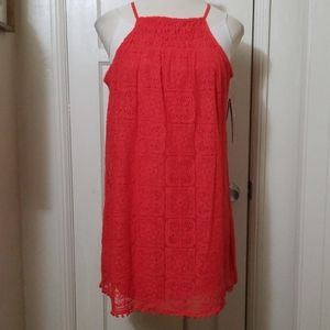MY MICHELLE coral orange red lace dress